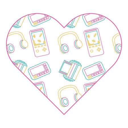 pattern shape heart with vintage video game headphones vector illustration color line design