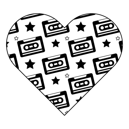 pattern shape heart with retro cassette tape recorder vector illustration black image