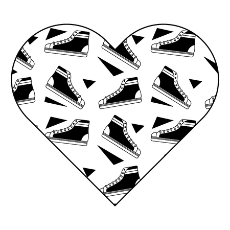pattern shape heart with classic sneakers retro vector illustration black image