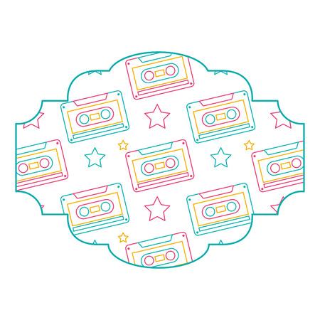 label pattern cassette tape recorder vector illustration color line design Ilustração
