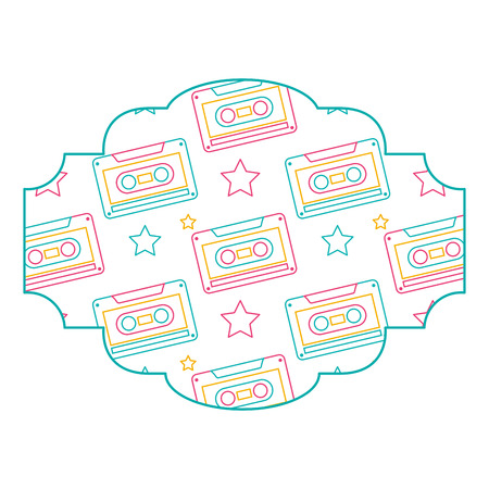 label pattern cassette tape recorder vector illustration color line design Illustration