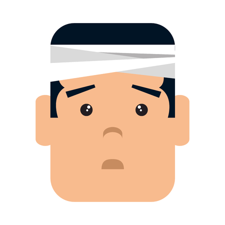 Man with bandage head character vector illustration design