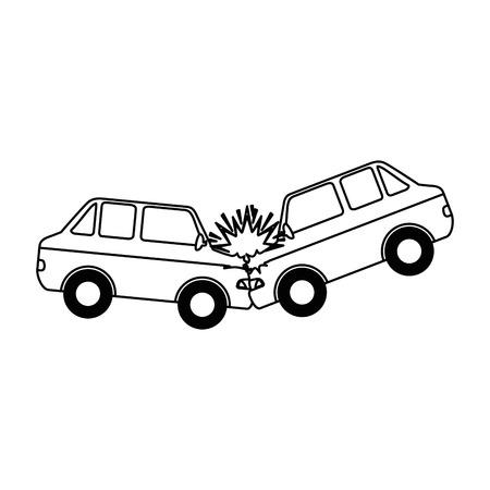 車の衝突事故アイコン。●ベクトルイラストデザイン。