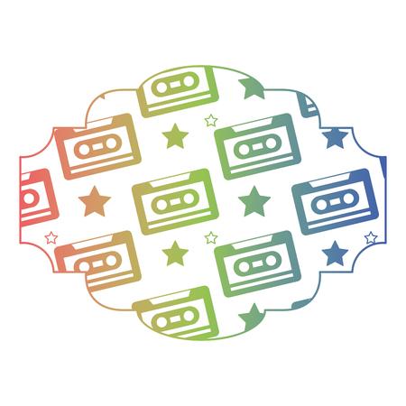 Magnétophone à cassette à motif d'étiquette. Dégradé de texture vecteur illustration couleur. Banque d'images - 94495443