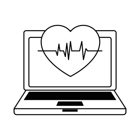 Laptop computer with heart cardio. Vector illustration design.