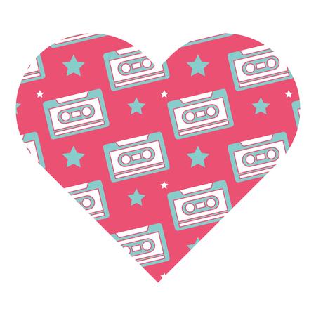 patroon vorm hart met retro cassetterecorder vector illustratie roze achtergrond