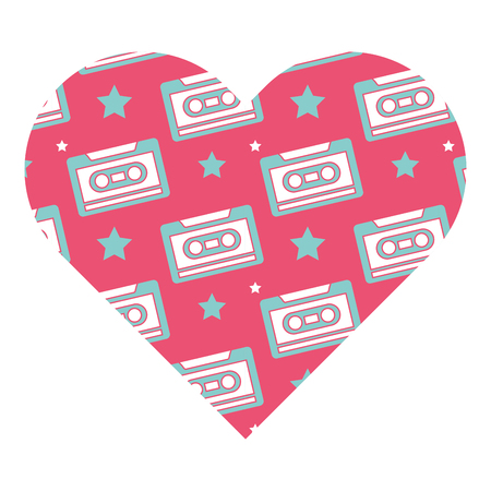 pattern shape heart with retro cassette tape recorder vector illustration pink background
