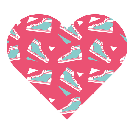 pattern shape heart with classic sneakers retro vector illustration pink background