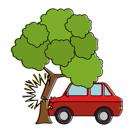 cars crash accident with tree vector illustration design