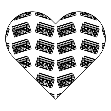 patroon vorm hart met stereo recorder speler vector illustratie zwarte afbeelding ontwerp Stock Illustratie