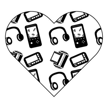 pattern shape heart with video game headphones retro vector illustration black image design Illustration