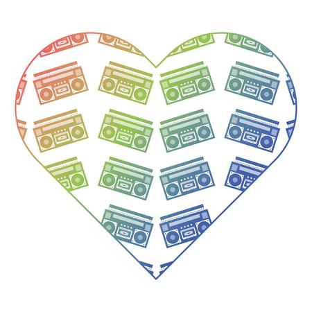 patroon vorm hart met stereo recorder speler vector illustratie kleurverloop textuur Stock Illustratie