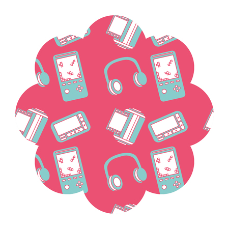 flower pattern shape label with video game and headphones vector illustration pink background