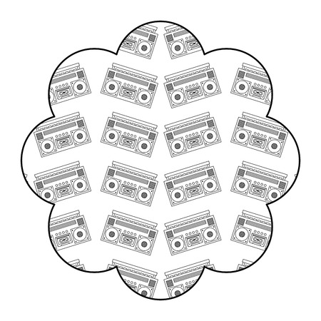 flower pattern shape label with stereo recorder player vector illustration outline design