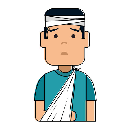 man with bandages and arm broken character vector illustration design Illustration