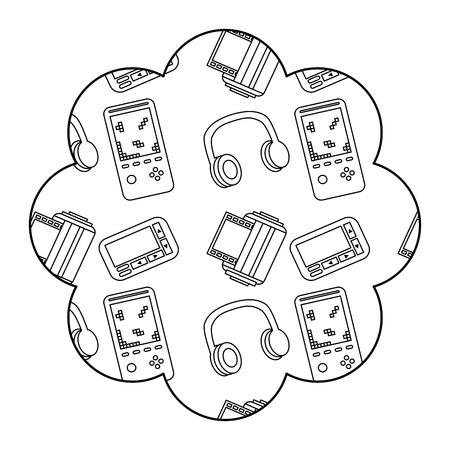 flower pattern shape label with video game and headphones vector illustration outline design