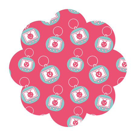 flower pattern shape label with tamagotchi toy game vector illustration pink background Stock Vector - 94436226