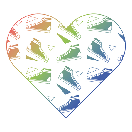 pattern shape heart with classic sneakers fashion vector illustration color gradient texture