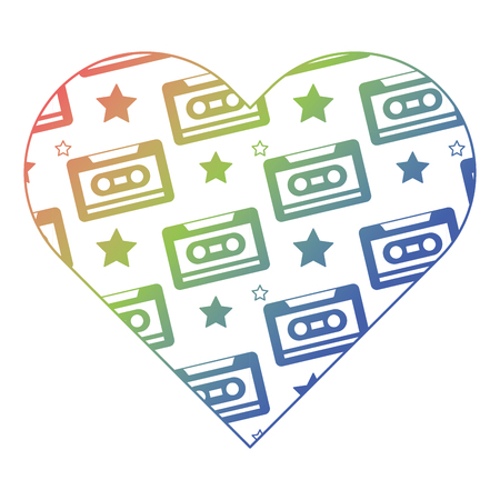 pattern shape heart with cassettes recorder tape vector illustration color gradient texture Ilustração
