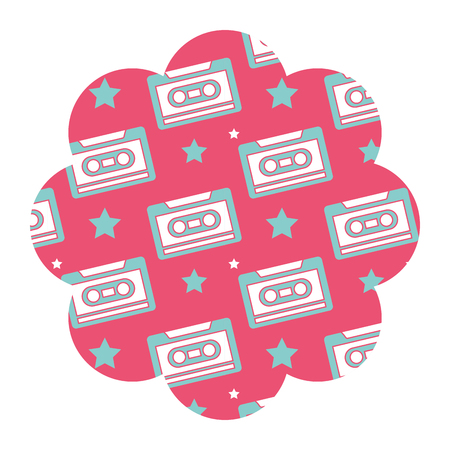 Flower pattern shape label with cassettes recorder tape vector illustration pink background