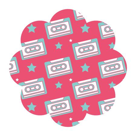 Flower pattern shape label with cassettes recorder tape vector illustration pink background