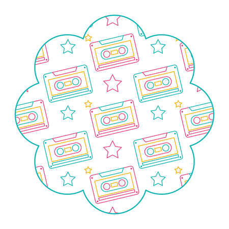 flower pattern shape label with cassettes recorder tape vector illustration color line design Illustration
