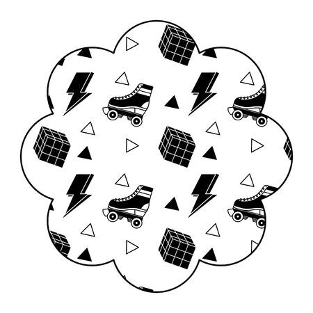 Flower pattern shape label with roller skate and rubik cube vector illustration black image design