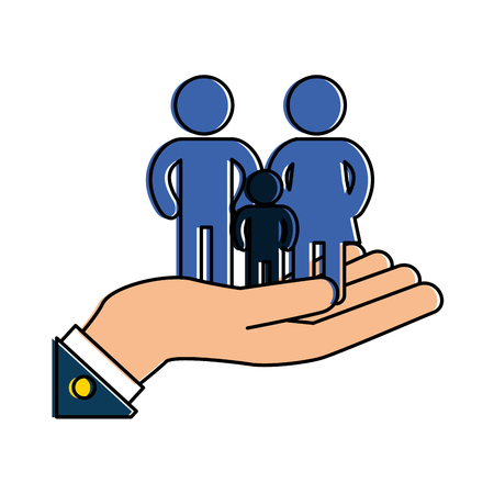 Hands with family silhouette. Vector illustration design.