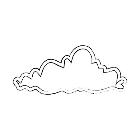 天気雲分離アイコン。●ベクトルイラストデザイン。