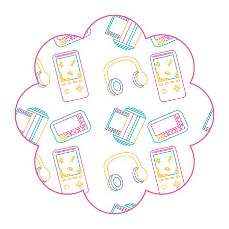 Flower pattern shape label with video game and headphones. Vector illustration color line design. Illustration