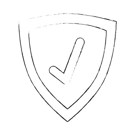 Shield with check icon. Vector illustration design.