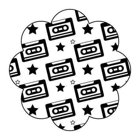 Flower pattern shape label with cassettes recorder tape. Vector illustration black image design. 向量圖像