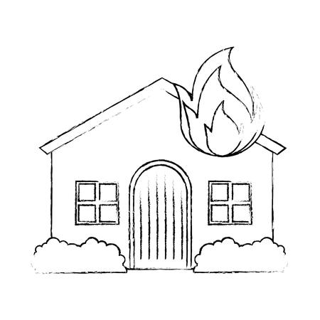 Huis met vuurvlam. Vector illustratie ontwerp.