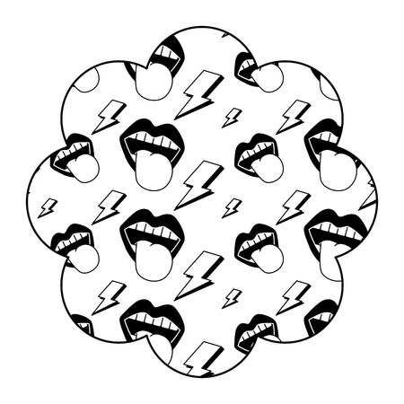 flower pattern shape label with mouth tongue out vintage vector illustration black image design