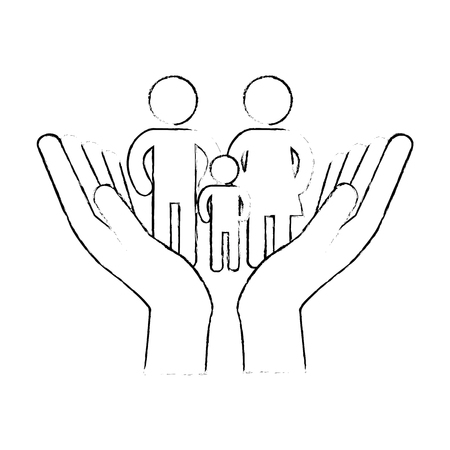 Hands with family silhouette vector illustration design.