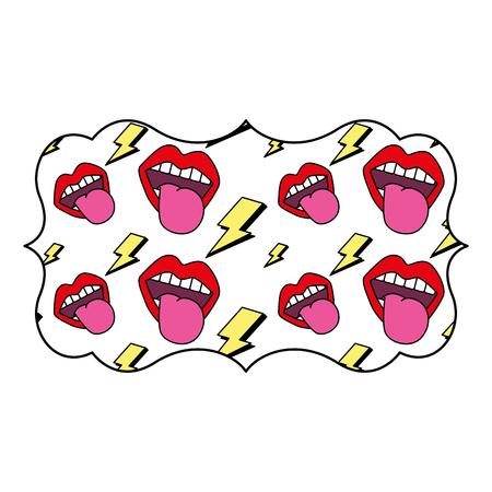 Sticker retro mouth tongue out vintage vector illustration. Illustration