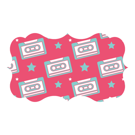 sticker retro cassette tape recorder music vector illustration pink background Stok Fotoğraf - 94524808