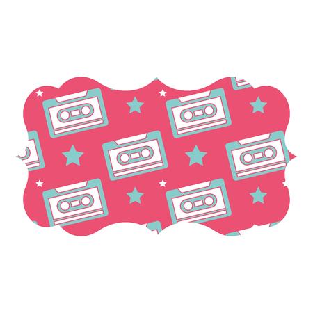 sticker retro cassette tape recorder music vector illustration pink background Illustration