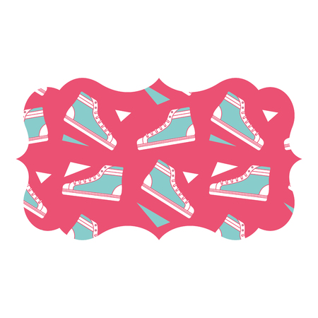 sticker retro klassieke sneaker schoen vintage vector illustratie roze achtergrond Stock Illustratie