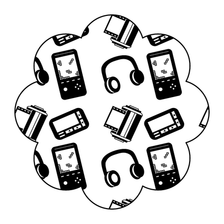 flower pattern shape label with video game and headphones vector illustration black image design