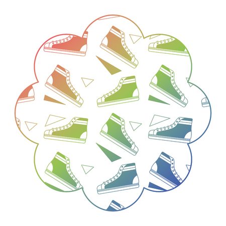 flower pattern shape label with classic sneakers vector illustration color gradient texture