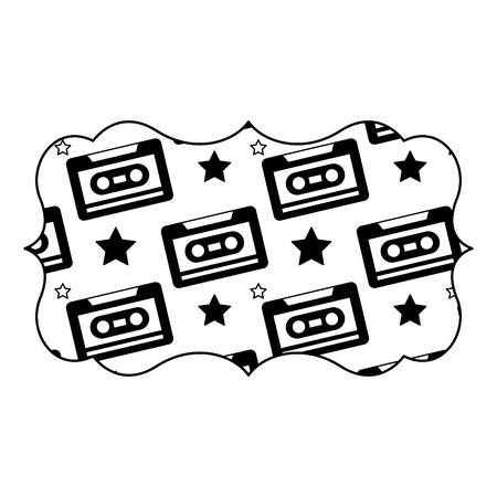 sticker retro cassette tape recorder music vector illustration black image design