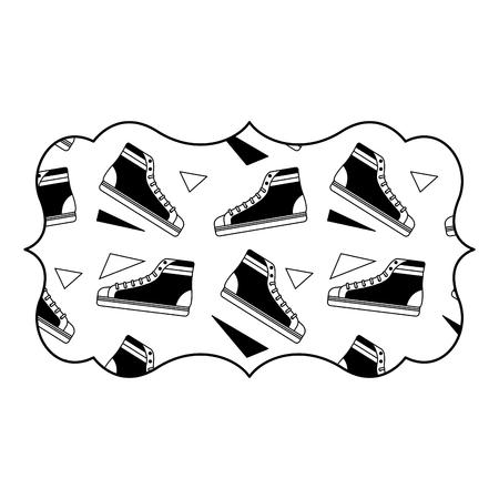 sticker retro klassieke sneaker schoen vintage vector illustratie zwart afbeelding ontwerp