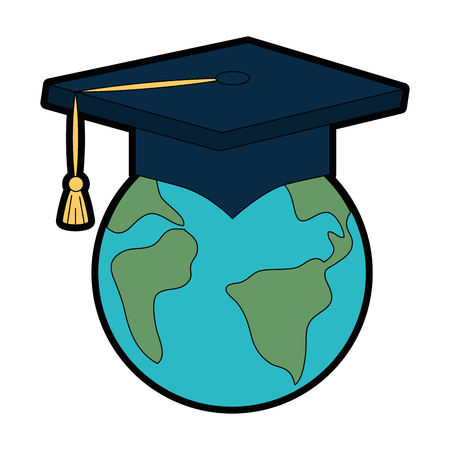 earth planet with graduation hat vector illustration design Stok Fotoğraf - 94437339