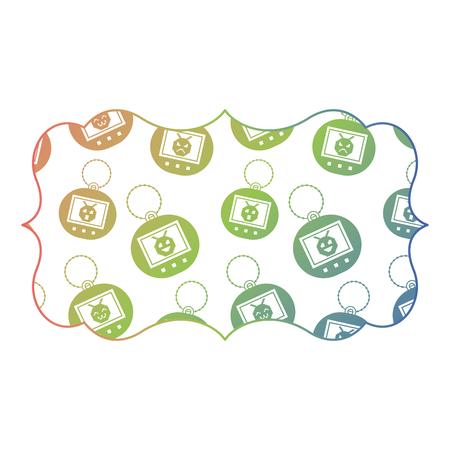 sticker retro toy tamagotchi electronic vector illustration color gradient texture Illustration