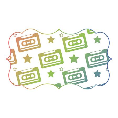 sticker retro cassette tape recorder music vector illustration color gradient texture