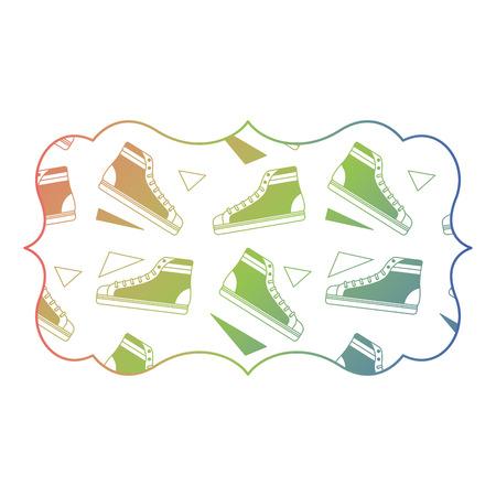 Retro klassischer Turnschuhschuh des Aufklebers Vintage Vektorillustrations-Farbsteigungsbeschaffenheit Standard-Bild - 94440244