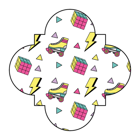 label vintage retro roller skates and cube game vector illustration