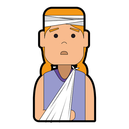 woman with bandages and arm broken character vector illustration design