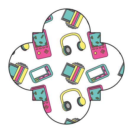 label vintage retro video game and headphones vector illustration Çizim